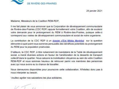 Coalition REM-RDP, appuie de la CDC RDP