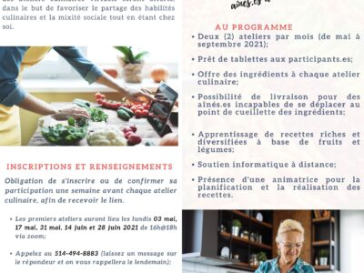 Ateliers culinaires virtuels